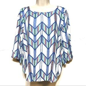 SKIES ARE BLUE TOP STITCH FIX COLORFUL ABSTRACT